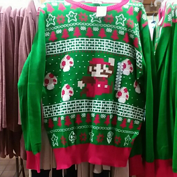 Nintendo Sweaters Super Mario Bros Ugly Christmas Sweater Nwt